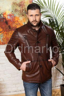 Мужская кожаная куртка цвета виски с отложным воротником