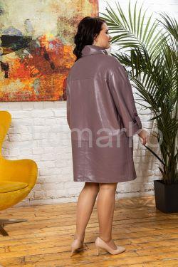 Модный кожаный плащ свободного кроя