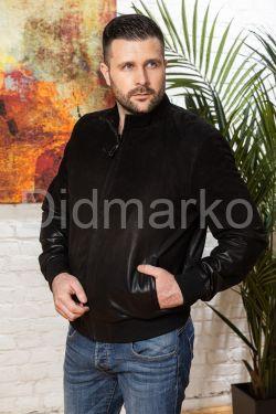 Мужская замшевая куртка на резинке