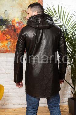 Мужской кожаный тренч с капюшоном