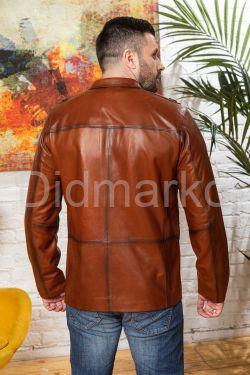 Весенняя кожаная куртка для мужчин рыжего цвета