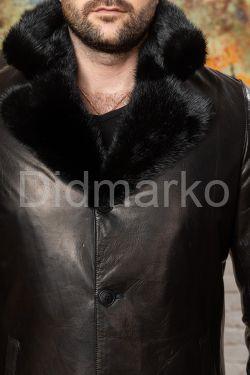 Зимняя мужская дубленка - тренч