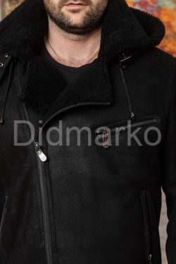 Зимняя мужская дубленка со съемным капюшоном