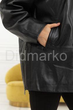 Куртка больших размеров с капюшоном и мехом чернобурки