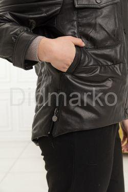 Утеплённая кожаная куртка-бомбер весна-осень