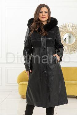 Элегантная женское кожаное пальто