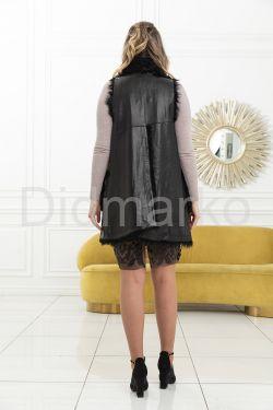 Удлиненный кожаный жилет с мехом барашка