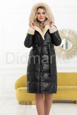 Зимний кожаный пуховик 2021