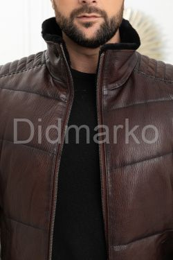 Утепленная короткая мужская кожаная куртка