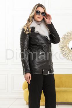 Стильная утепленная кожаная куртка
