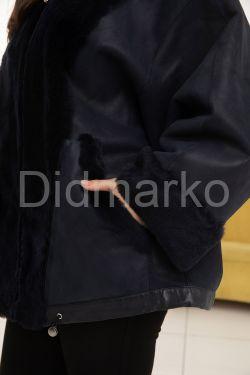 Дубленка летучая мышь сапфирово-синего цвета