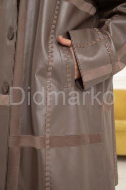 Комбинированный трапециевидный кожаный плащ  BERFIN100