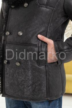 Зимняя мужская дубленка с мехом тиградо