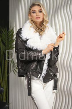 Утепленная кожаная куртка с мехом