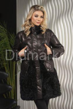 Теплое кожаное женское пальто