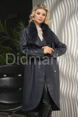 Пальто кожаное полуночно-синего цвета