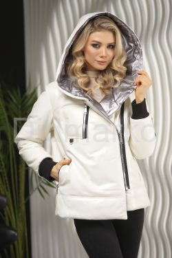 Белоснежный кожаный пуховик на зиму