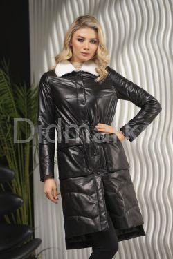 Стеганое пальто из новой коллекции с мехом норки