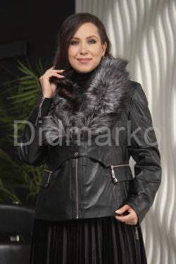 Кожаная куртка - трансформер (съемный жилет ) TINI