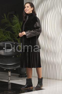 Стильная кожаная куртка с мехом астраган
