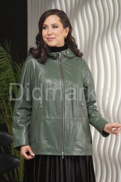 Кожаная куртка с капюшоном цвета хаки