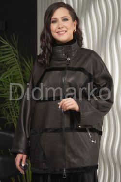 Удлиненная кожаная куртка автоледи больших размеров