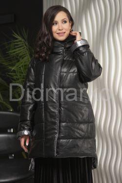 Зимняя кожаная куртка с капюшоном больших размеров
