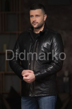 Демисезонная кожаная куртка мужская