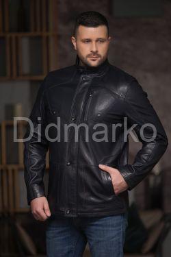 Стильная мужская кожаная куртка чернильного цвета