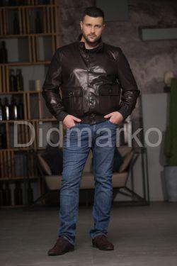 Мужская кожаная куртка на резинке Весна-Осень