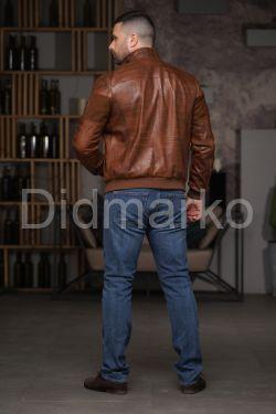 Мужской кожаный бомбер цвета виски