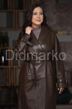 Классическое двубортное пальто из натуральной кожи