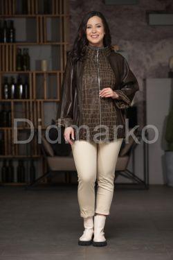 Кожаная куртка с разнофактурными вставками
