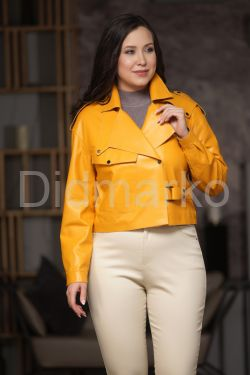 Эксклюзивная кожаная куртка яркого цвета
