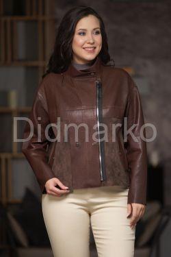 Комбинированная кожаная куртка с замшей