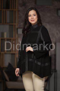 Комбинированная кожаная женская куртка свободного кроя