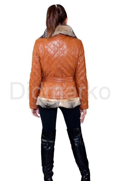 Рыжая куртка с мехом аргентинской лисы. Фото 2.