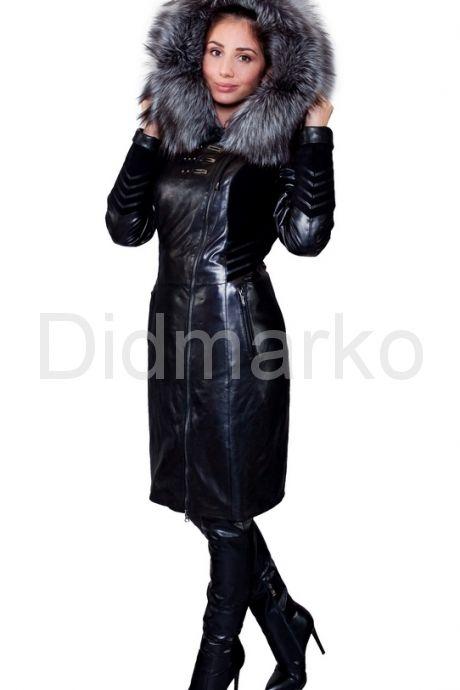 Комбинированное кожаное пальто с мехом чернобурки. Фото 8.