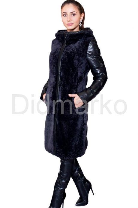 Черный кожаный пуховик, комбинированный с мехом астраган. Фото 1.