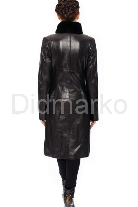 Классический кожаный плащ с воротником-стойкой. Фото 6.