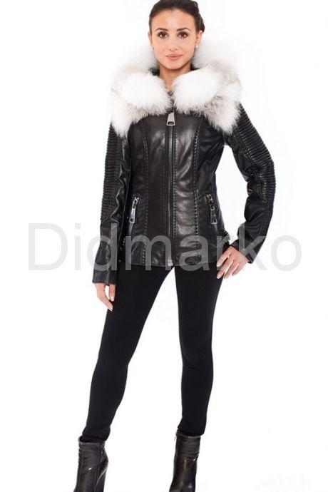 Стильная куртка с белым мехом. Фото 1.
