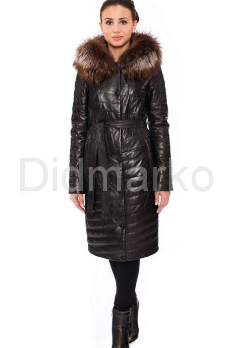 Оригинальное кожаное пальто. Фото 1.