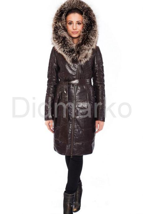 Кожаное пальто коричневого цвета с мехом чернобурки. Фото 2.