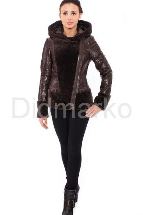 Комбинированная кожаная куртка коричневого цвета. Фото 1.