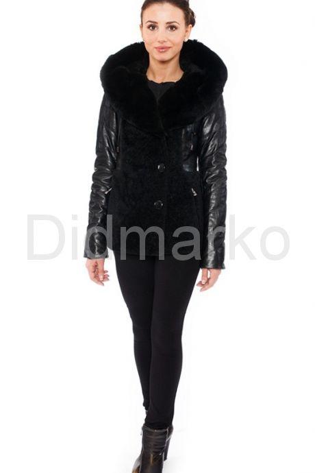 Зимняя кожаная куртка с мехом астрагана. Фото 1.