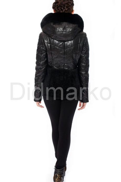 Зимняя кожаная куртка с мехом астрагана. Фото 3.