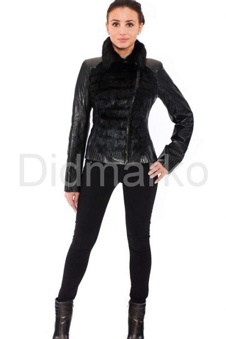 Кожаная куртка с мехом норки. Фото 1.