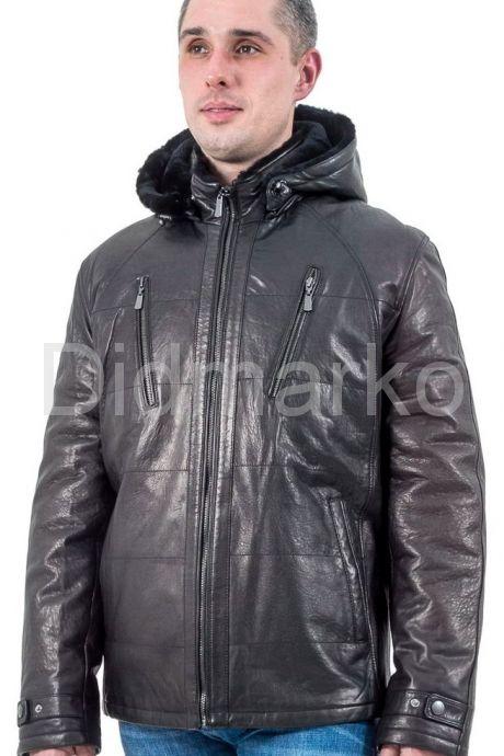 Мужская зимняя кожаная куртка черного цвета. Фото 1.