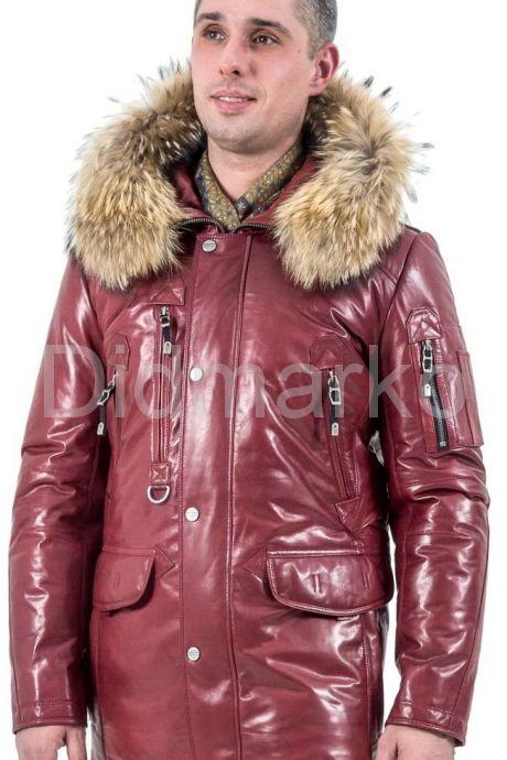 Удлиненный мужской пуховик цвета бордо. Фото 1.