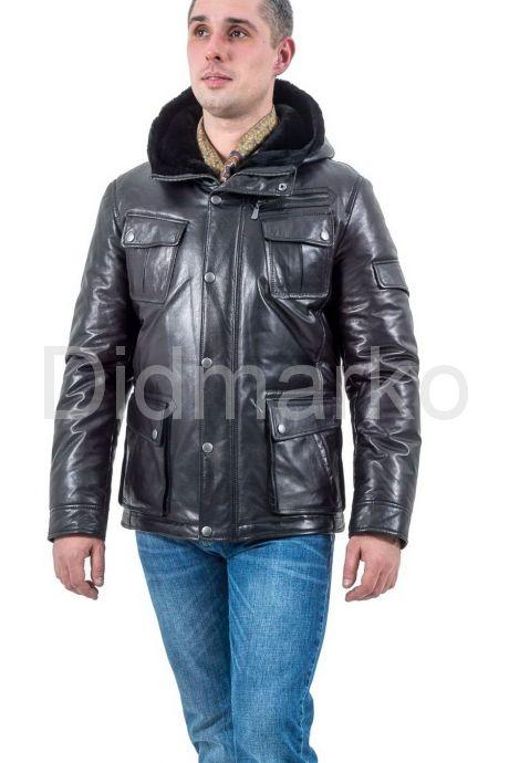 Стильный кожаный пуховик черного цвета. Фото 1.